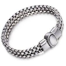 Men's Designer Style Silver Stainless Steel Chain Link Bracelet Wristband