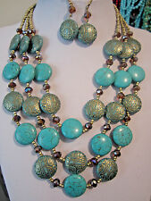 Three Layers Round Circle Turquoise Stone Engraved Lucite Bead Necklace Earring