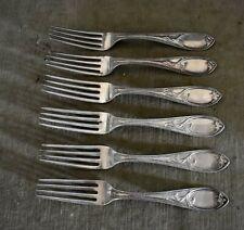 Rare Set Of 6 Heavy Antique Coin 90% Silver 900/1000 Dinner Forks - N. Harding