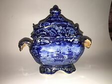 Historical Staffordshire Dark Blue Sugar Bowl Macdonoughs Victory Ca. 1825