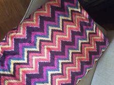 Berkshire Blanket Throw Vivid Colors Pink Orange Chevron Pattern 50� X 76�