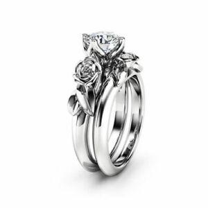 2.00 ct White Round Diamond Flower Style Engagement Bridal Ring Set 925 Silver