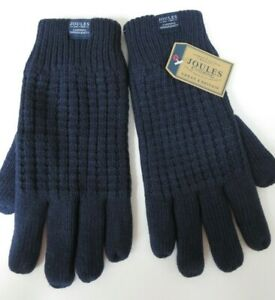Joules mens thick gloves fleece lining navy blue size S/M NEW warm winter