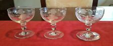 BEAUTIFUL SET OF THREE VINTAGE VERY SMALL BOHEMIA CRYSTAL CHAMPAGNE GLASSES