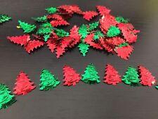 Décoration de noël confettis de table Sapin de noël Vert et Rouge NEUF
