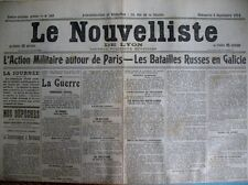 WW1 GOUVERNEMENT A BORDEAUX COMMUNIQUéS LE NOUVELLISTE DE LYON 6/9/1914
