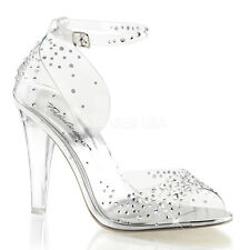 Clear Rhinestone Princess Bridal Glass Slippers Elsa Wedding Costume Heels Shoes