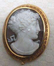 Victorian Cameo HARDSTONE 18 KT Oro Antico Spilla