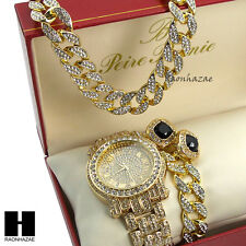 """Iced Out Pave Watch 30"""" Cuban Stone Chain Bracelet Onyx Black Earring Combo Set"""