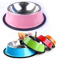 No-Slip Dog Bowl Puppy Small Medium Dog Cat Food Drink Dish Feeder Metal Bowl