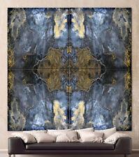 STEINGOLD Abstrakt Leinwand Bild Schwarz Weiß Blau Mandala Kunstdruck Kaleido XL