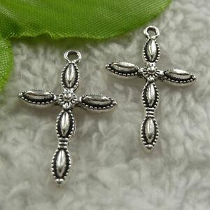 Free Ship 240 pcs tibet silver cross charms 29x18mm B4141