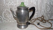 VINTAGE ELECTRIC HOTPOINT COFFEE POT GREEN GLASS DEPRESSION LID 1924 EDISON ELEC