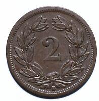 1886, Switzerland, 2 Rappen, B Type, EF, Bronze, KM# 4 [Lot 1370]