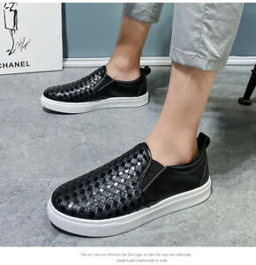 Men's Faux Leather Slip On Loafers Casual Flats Fashion Shiny Shoes