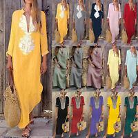 Plus Size Womens Boho Holiday Kaftan Maxi Dress Casual Beach Loose Long Dresses
