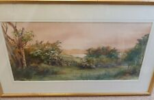 Antique Landscape Watercolour Down Lane Signed Alice Greenhill 1918