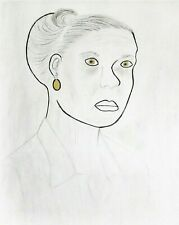 DRAWING/PAINTING- 'WOMAN WITH 24K GOLD EARRING',MIXED MEDIA,SKETCH PAD,FREE SHIP