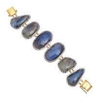 925 Sterling Silver Labradorite Gemstone Gold Plated Handmade CZ Bracelet