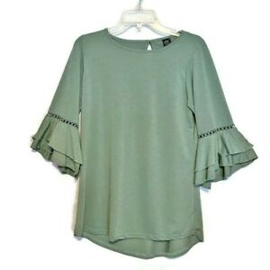 Lildy Tunic Top Green Ruffle Crochet Bell Sleeve High Low Hem Stretchy Size S-M