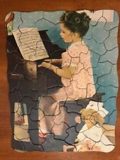 Vintage Jigsaw Puzzle Little Girl Pink Nightgown Playing Piano Dolls 60 Pieces