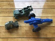 LOTTO di 3 Vintage Esercito Playset Veicoli Militari Cannone Pyro Park Plastics