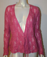 HANDKNIT Rose Pink Mohair LS Cardigan Sweater S M NWT Open Weave