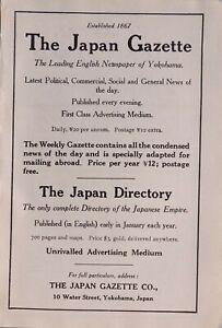 1914 Japan Japanisch Touristen Werbeanzeige Gazette & Verzeichnis Yokohama