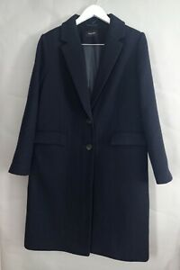 M&S Autograph Ladies Coat UK 14 Navy Blue Wool Cashmere Blend Single Breasted