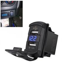 Dual USB Charger Socket Ports LED Voltmeter 12V 24V Volt Car Auto Boat Universal