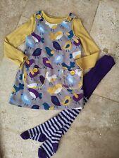 Rare Worn Twice Boden Bird Cordaroy Dress Boden Top & Jl Tights Age 3-4