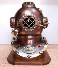 "U.S Navy Mark V Scuba 18"" Boston Antique Diving Helmet Divers Helmet With Base"