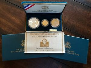 1992 Columbus Quincentenary Commemorative Proof 3-Coin (Gold $5) Set w/ OGP
