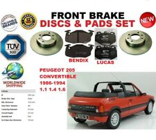 FOR PEUGEOT 205 CONVERTIBLE 86-94 FRONT SOLID BRAKE DISCS SET + BRAKE PADS KIT