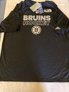 NHL Boston Bruins 100th Anniversary Adidas T-Shirt Black Sz Lg NWTs Free Ship