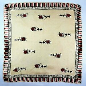 Silk Pocket Square 60s Vintage Equestrian Horse & Carriage Print MCM Hand Rolled