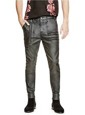 G By Guess Uzi Modern Skinny Jeans Black Coated Twill Zip-Destroy Size 30