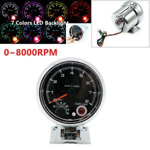 """3.75"""" 7 Color LED Truck Car Tachometer 0-8000 RPM Works On 4,6,8 Cylinder Engine"""