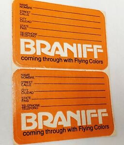Vintage Collectible Braniff Airlines Luggage Tag Sticker Label 1975 Dbl. Orange