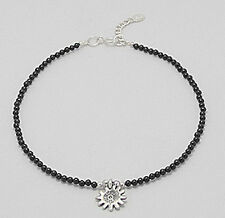 """Agate Anklet with Flower Charm 2.6g 9.5"""" Solid Sterling Silver 12mm Black"""