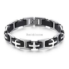 Men's Stainless Steel Cross & Black Rubber Chain Link Bracelet Wristband 8.26""