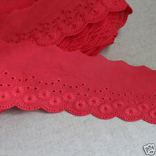 """14Yds Broderie Anglaise cotton eyelet lace trim 2.5"""" (6.5cm) Red YH865 laceking"""