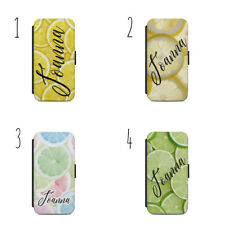 Personalised Luxury LEMON PHONE CASE WALLET S7 S8 S9 & Iphone 5S 7S X A80