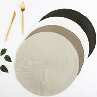 4/6/8X WOVEN ROUND PLACEMATS DINING TABLE PLACE MATS HEAT-INSULATED NON-SLIP MAT