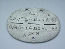 2ww german luftwaffe   dog tag / identity disc  5 /A /FLG AUSB RGT 63