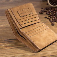 Men Coffee Leather ID credit Card holder Clutch Bifold Coin Purse Wallet Pockets