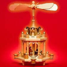 SIKORA P2 Klassische Pyramide Weihnachtspyramide Holz 2 Etagen Kerzen H:30cm