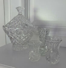 Lot 5 Vintage Antique Cut Glass Crystal Bud Vases Candy Covered Serving Dish