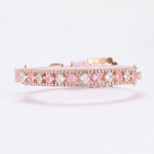 Allacki Pink Rhinestone Studded Dog Collar Cute Pet Necklace