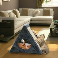 Indoor/Outdoor Foldable Cat Condo - Collapsible Plush Built-In Scratch Pad + Toy